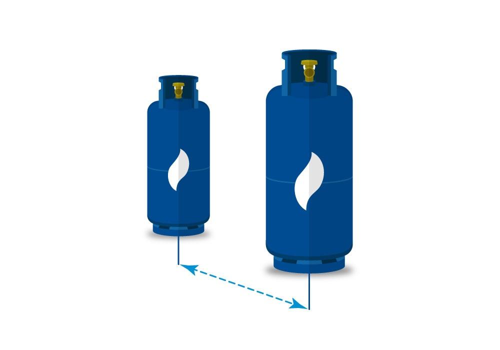 Dos cilidros de gas separados uno del otro
