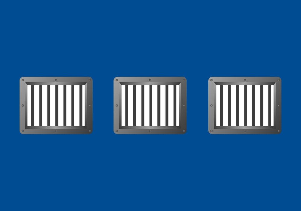 Ilustración de tres rejillas de ventilación