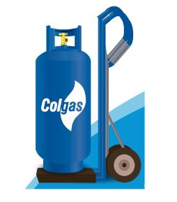 Ilustración de un cilindro de gas con el logo Colgas encima