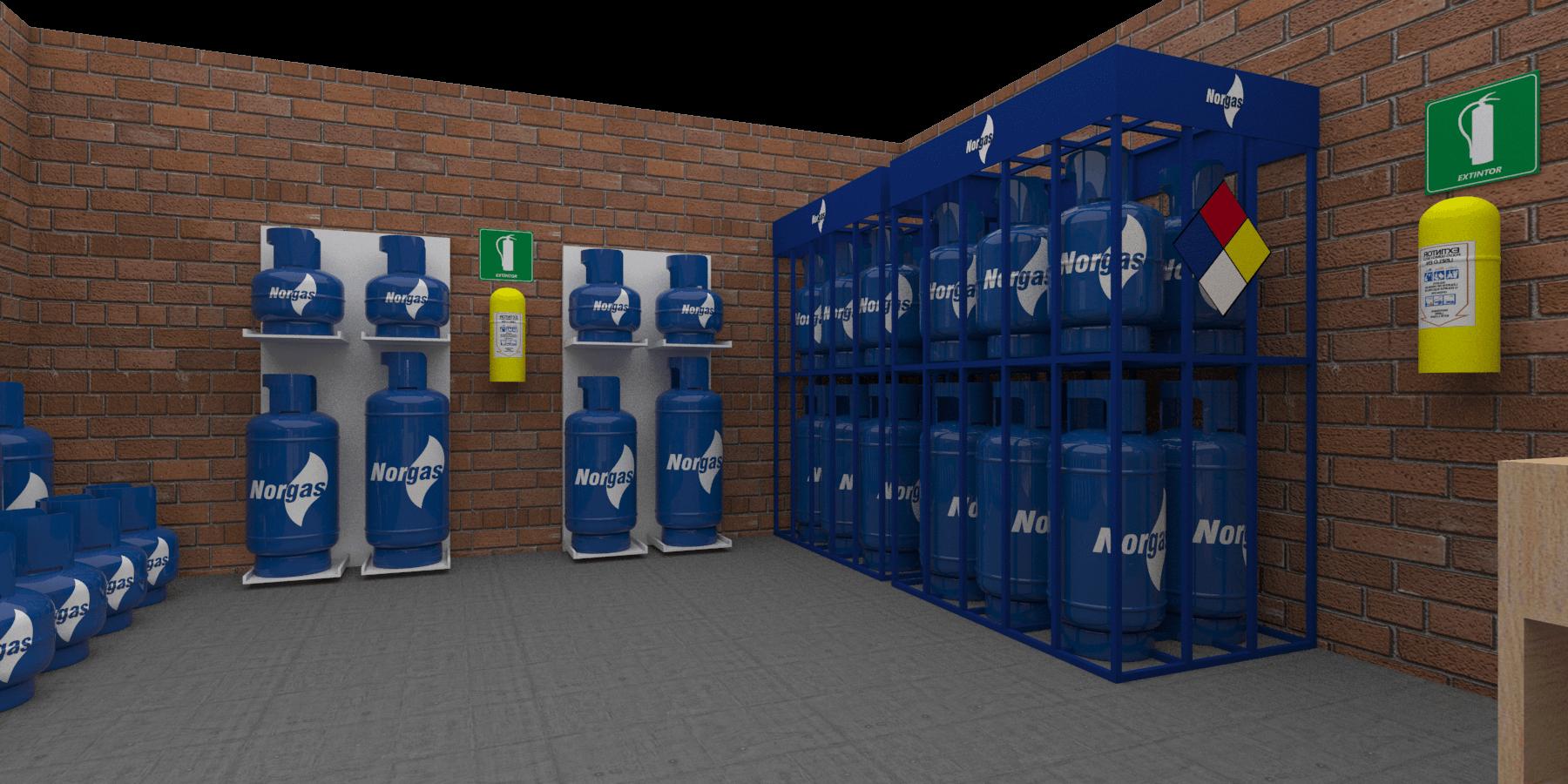 Espacio de almacenamiento con varios cilindros de gas