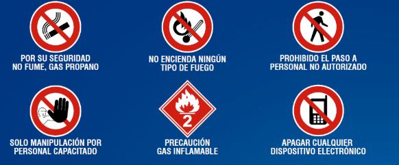 Ilustración de señalización de cuidados de cilindros de gas
